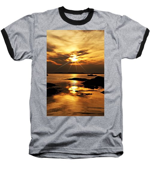 Plum Cove Beach Sunset E Baseball T-Shirt by Joe Faherty
