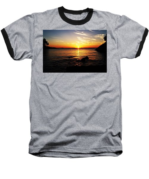 Plum Cove Beach Sunset G Baseball T-Shirt by Joe Faherty