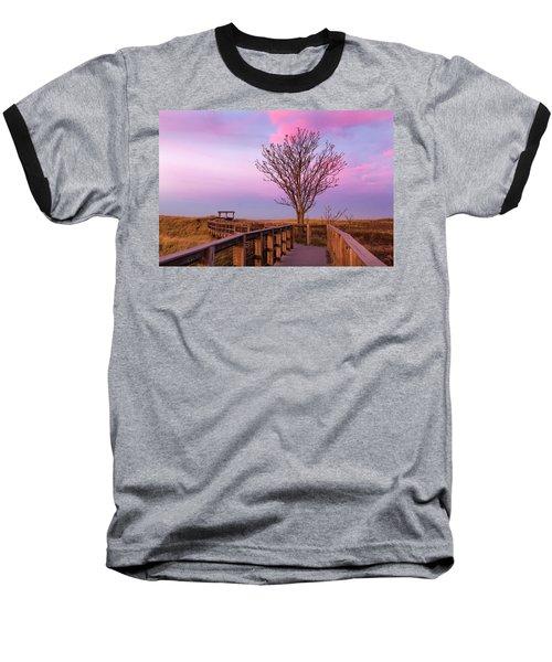 Plum Island Boardwalk With Tree Baseball T-Shirt by Betty Denise