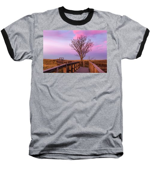 Plum Island Boardwalk With Tree Baseball T-Shirt