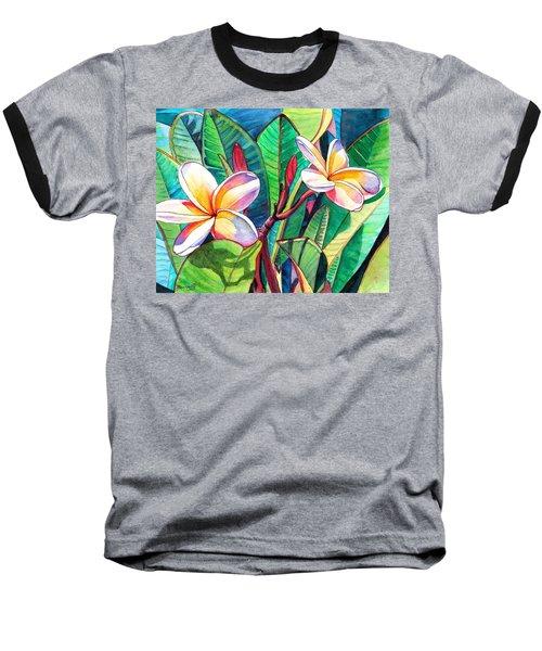 Plumeria Garden Baseball T-Shirt by Marionette Taboniar
