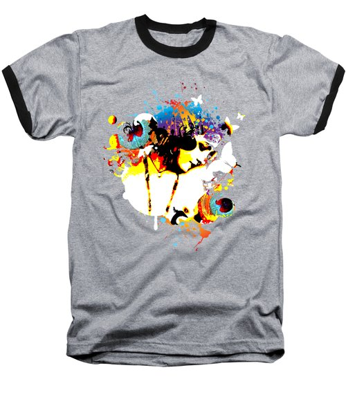 Poetic Peacock - Bespattered Baseball T-Shirt