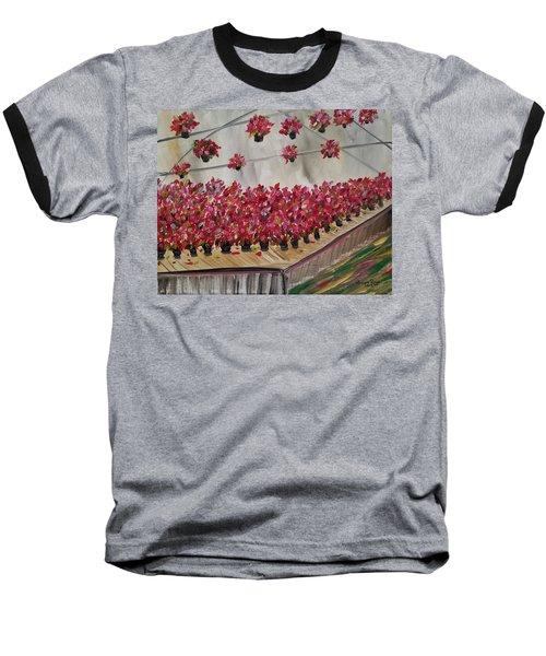Poinsettia Greenhouse Baseball T-Shirt