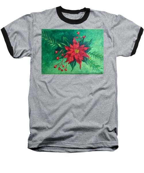 Poinsettia Baseball T-Shirt by Lucia Grilletto