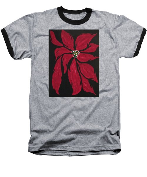 Baseball T-Shirt featuring the painting Poinsettia - The Season by Sharyn Winters