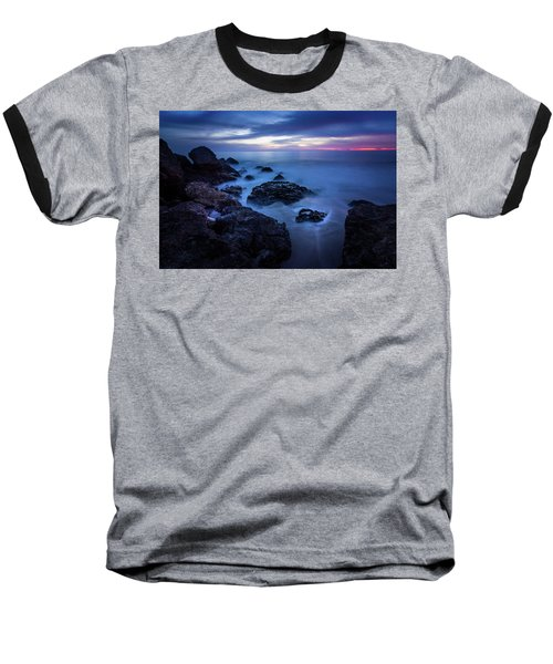 Point Dume Rock Formations Baseball T-Shirt