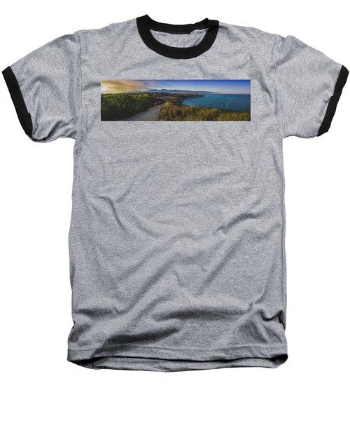 Point Dume Sunset Panorama Baseball T-Shirt