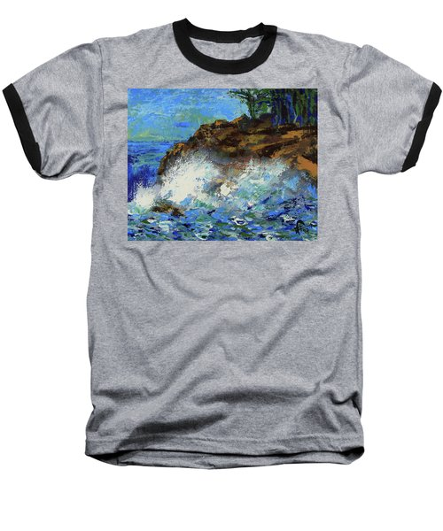 Baseball T-Shirt featuring the painting Point Lobos Crashing Waves by Walter Fahmy