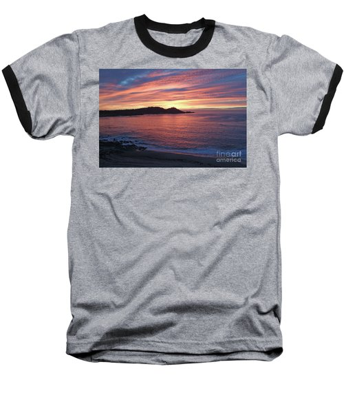 Point Lobos Red Sunset Baseball T-Shirt