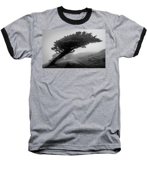 Point Reyes Fog Black And White Baseball T-Shirt