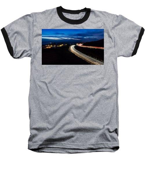 Point Vincente Light Trails Baseball T-Shirt by Ed Clark