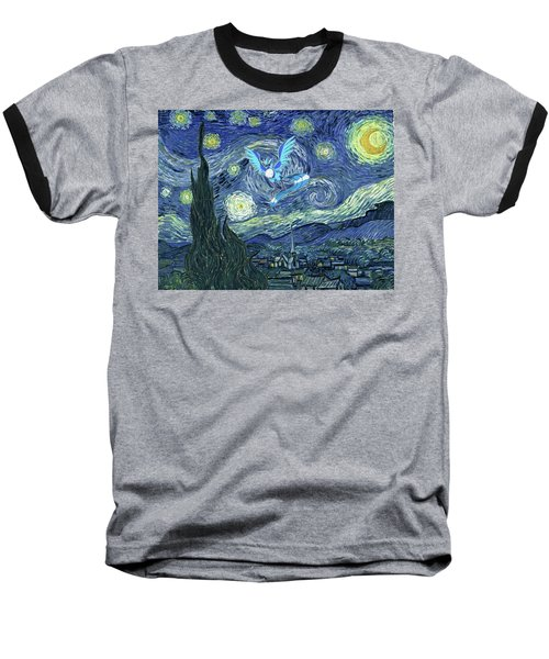 Baseball T-Shirt featuring the digital art Pokevangogh Starry Night by Greg Sharpe