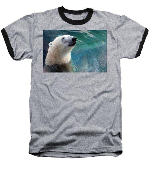 Polar Bear Up Close Baseball T-Shirt