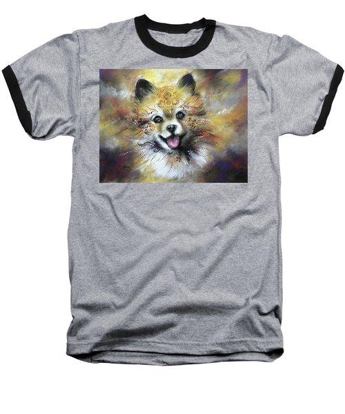 Pomeranian Baseball T-Shirt by Patricia Lintner