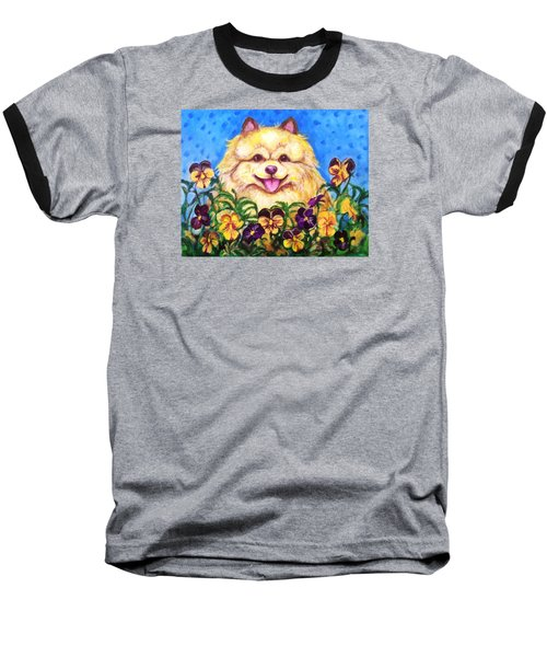 Pomeranian With Pansies Baseball T-Shirt by Laura Aceto