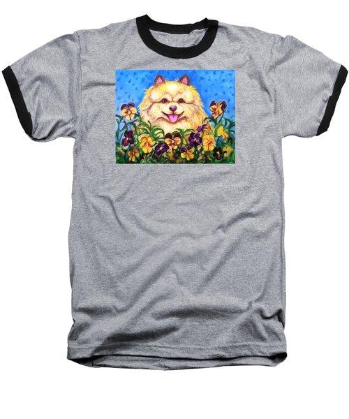 Pomeranian With Pansies Baseball T-Shirt