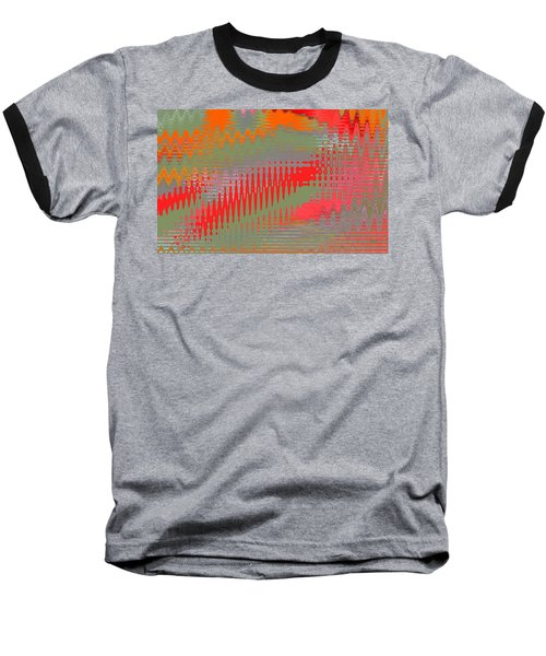 Baseball T-Shirt featuring the digital art Pond Abstract - Summer Colors by Ben and Raisa Gertsberg