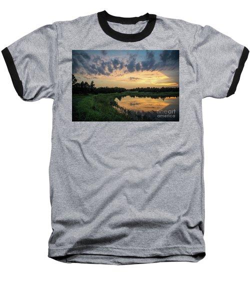 Pond And Sunset Baseball T-Shirt