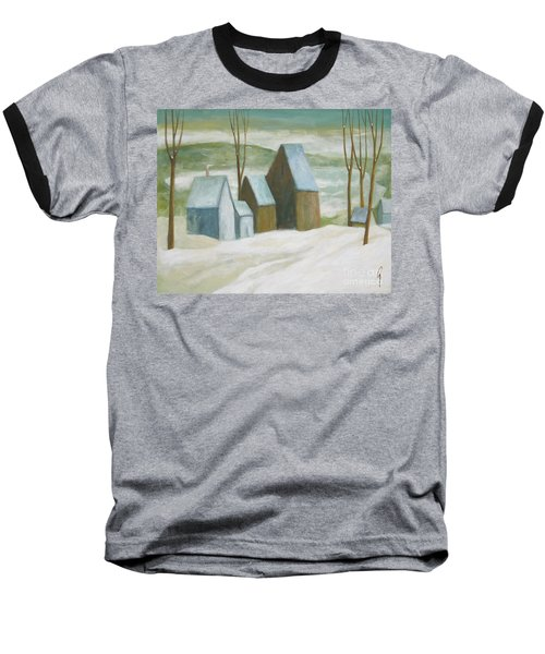 Baseball T-Shirt featuring the painting Pond Farm In Winter by Glenn Quist