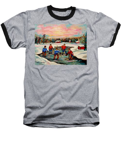 Pond Hockey Countryscene Baseball T-Shirt