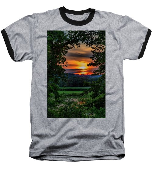 Pond Sunset  Baseball T-Shirt