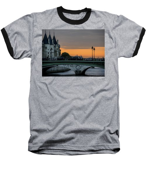 Baseball T-Shirt featuring the photograph Pont Au Change Paris Sunset by Sally Ross