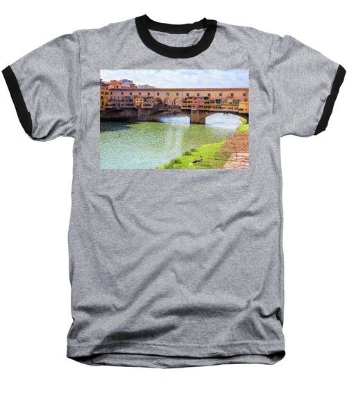 Baseball T-Shirt featuring the photograph Ponte Vecchio Florence Italy II Painterly by Joan Carroll