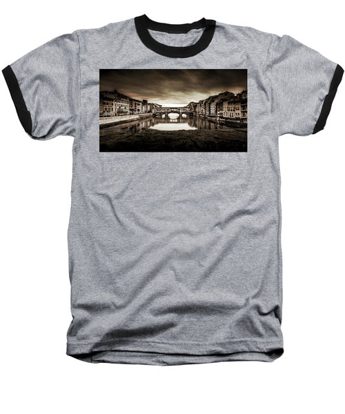 Baseball T-Shirt featuring the photograph Ponte Vecchio In Sepia by Sonny Marcyan