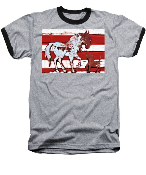 Baseball T-Shirt featuring the photograph Pony And Pup by Larry Campbell