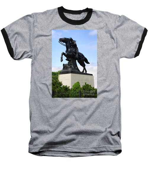 Pony Express Rider Baseball T-Shirt by Linda Phelps