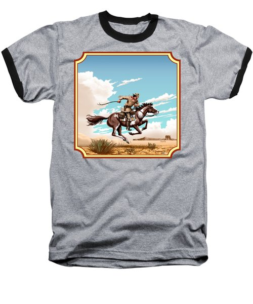 Pony Express Rider - Western Americana - Square Format Baseball T-Shirt by Walt Curlee