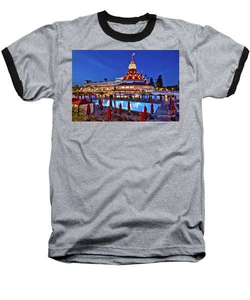Poolside At The Hotel Del Coronado  Baseball T-Shirt by Sam Antonio Photography