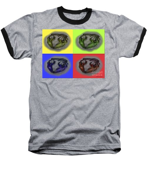 Pop Art Frog Face Baseball T-Shirt by Carol F Austin