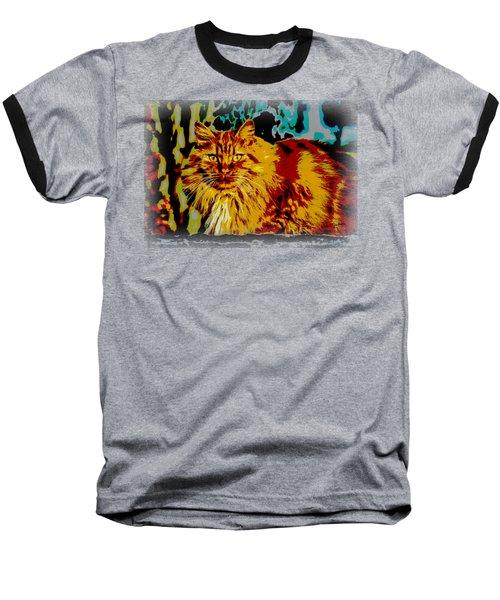 Pop Art Orange Tabby Cat Baseball T-Shirt