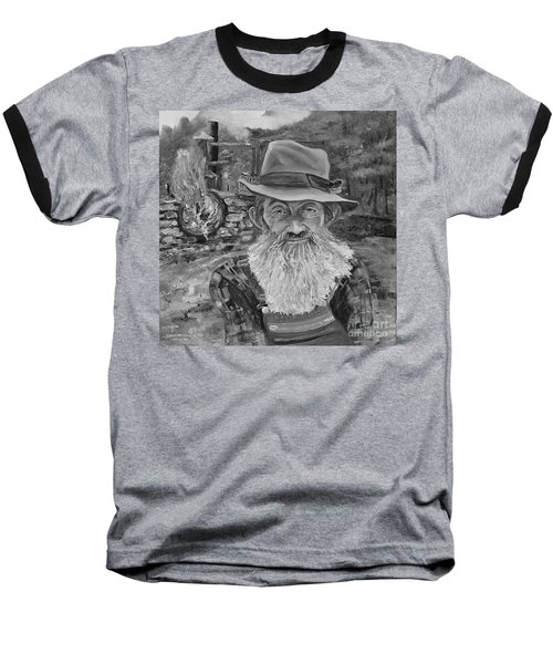 Popcorn Sutton - Black And White - Rocket Fuel Baseball T-Shirt