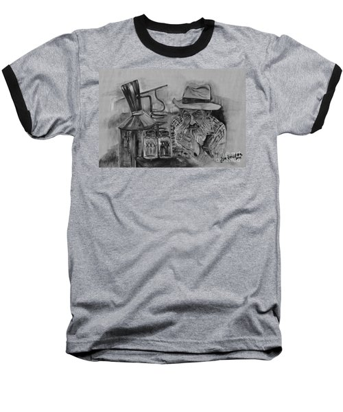 Popcorn Sutton - Black And White - Waiting On Shine Baseball T-Shirt