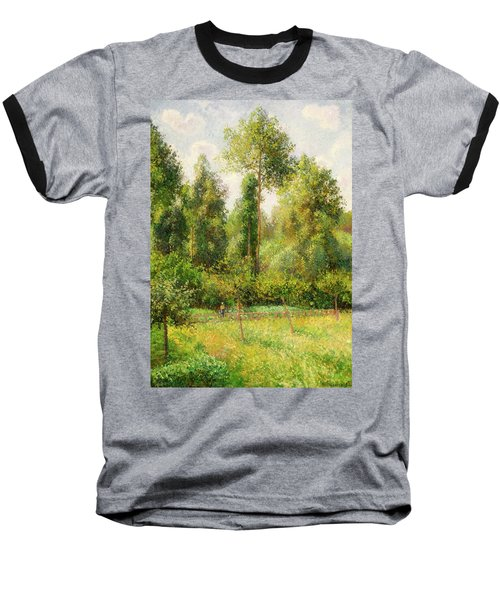 Baseball T-Shirt featuring the painting Poplars - Eragny by Camille Pissaro