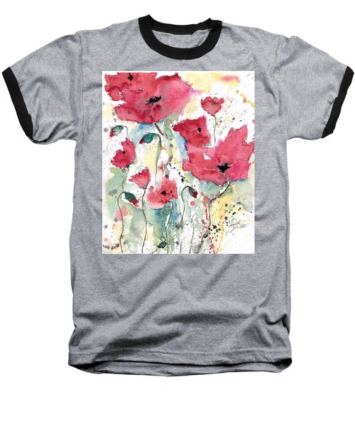 Baseball T-Shirt featuring the painting Poppies 10 by Ismeta Gruenwald