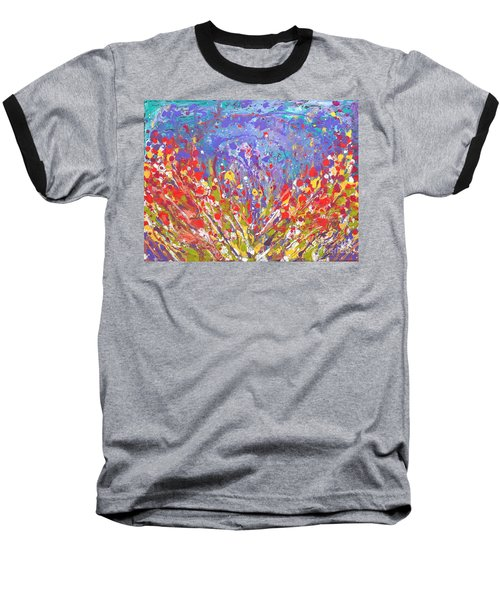 Poppies Abstract Meadow Painting Baseball T-Shirt
