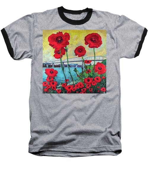 Poppies Along The Riverfront Baseball T-Shirt