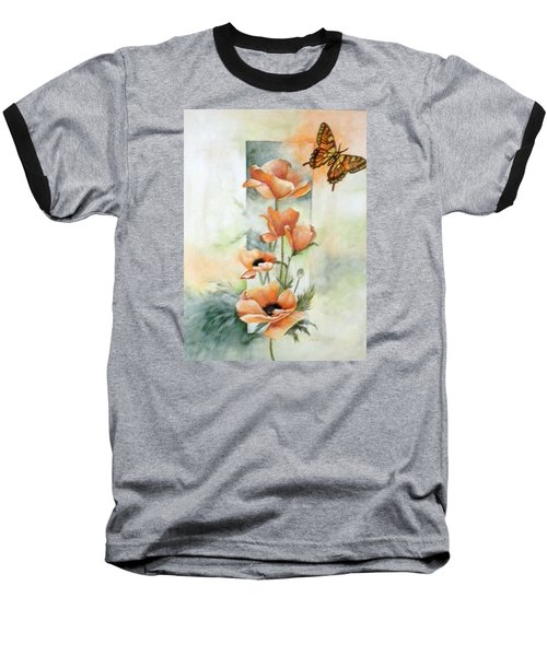 Poppies And Butterfly Baseball T-Shirt by Marti Idlet
