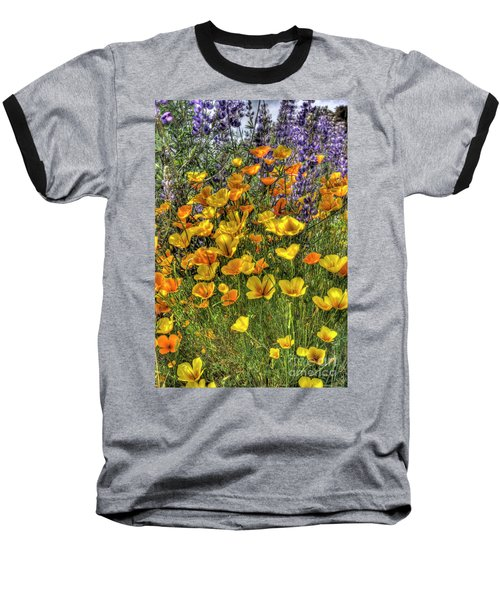 Poppies And Lupines Baseball T-Shirt by Jim and Emily Bush