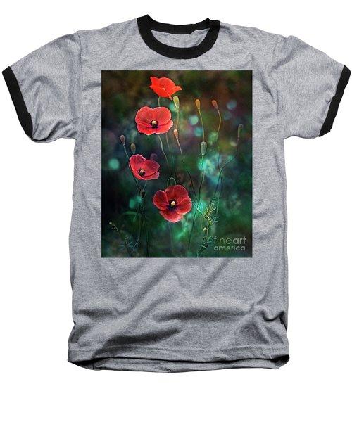 Poppies Fairytale Baseball T-Shirt by Agnieszka Mlicka