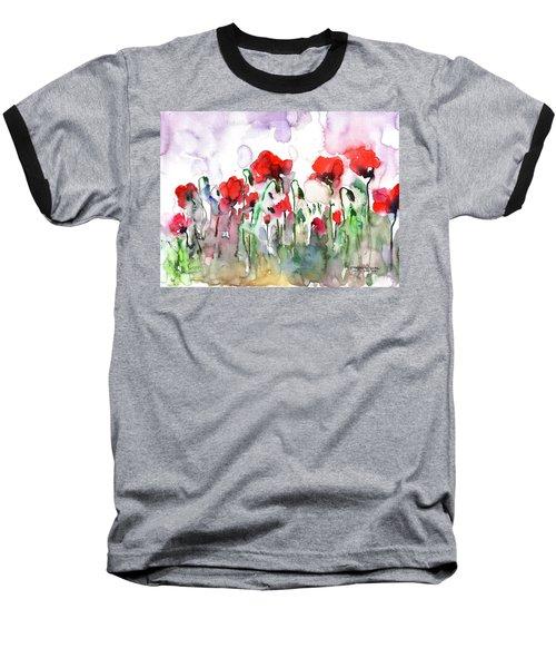 Baseball T-Shirt featuring the painting Poppies by Faruk Koksal