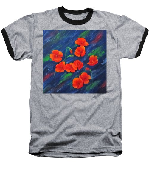 Baseball T-Shirt featuring the painting Poppies In Abstract by Roseann Gilmore