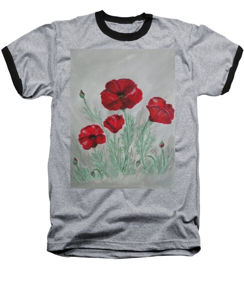 Poppies In The Mist Baseball T-Shirt by Sharyn Winters