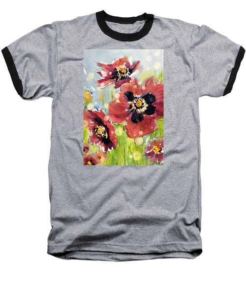 Poppies Baseball T-Shirt by Judith Levins