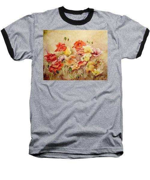 Poppies Baseball T-Shirt by Marilyn Zalatan