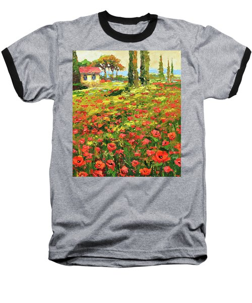 Baseball T-Shirt featuring the painting Poppies Near The Village by Dmitry Spiros