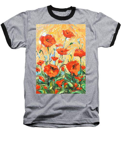 Baseball T-Shirt featuring the painting Poppies On A Yellow            by Dmitry Spiros